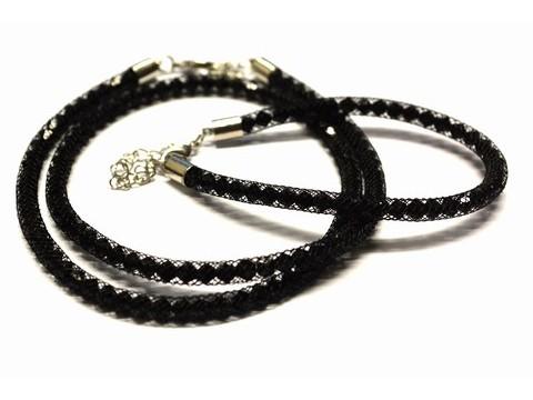 Schlauch Kette mit Armband, schwarz
