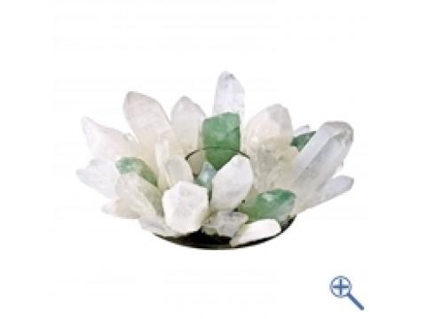 Design - Teelicht Bergkristall & Fluorit grün