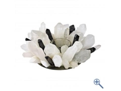 Design - Teelicht Bergkristall & Rauchquarz